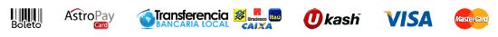 Boleto | Transferência Bancária | AstroPay Card | Visa | MasterCard